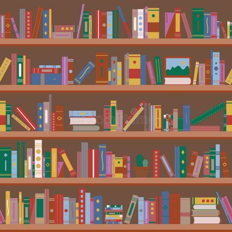 Bücher auf Bücherregalen Nahtloses Muster stock abbildung