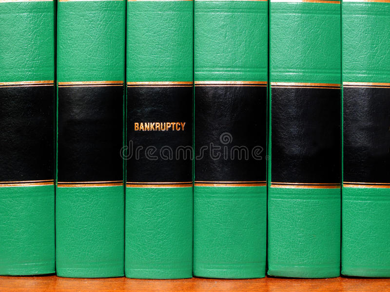 Bücher auf Bankrott lizenzfreies stockbild