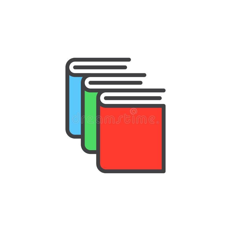 Bücher, Bibliothekslinie Ikone, füllten Entwurfsvektorzeichen, das lineare bunte Piktogramm, das auf Weiß lokalisiert wurde vektor abbildung