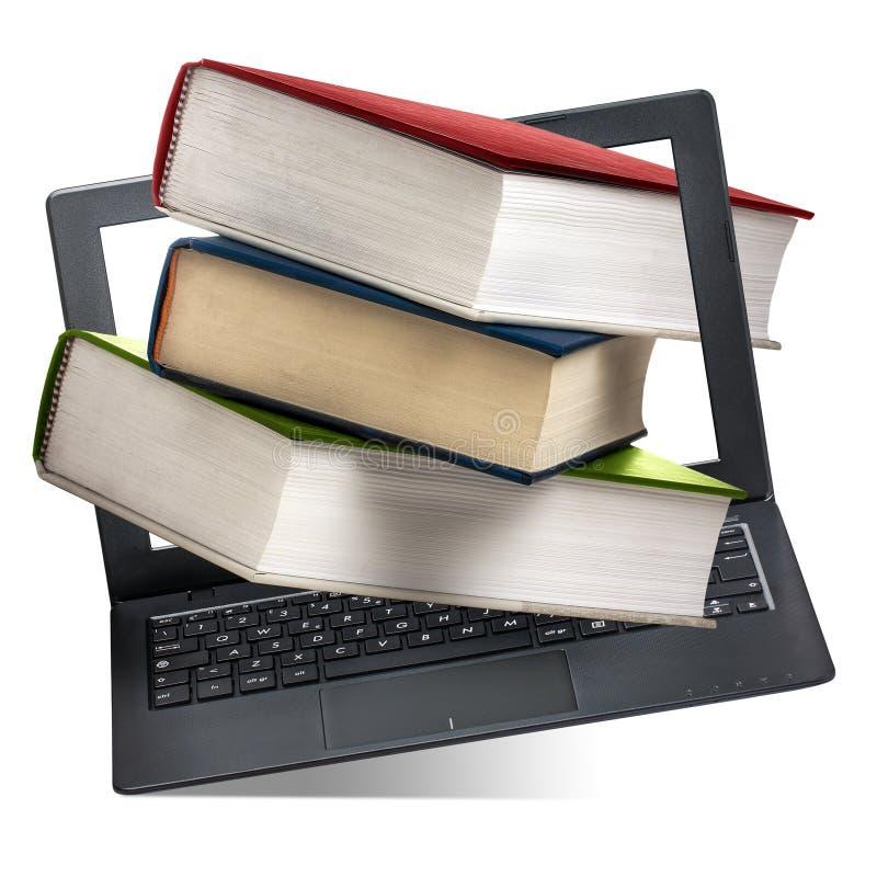 Bücher, die heraus Computer-Laptop-Bildung lokalisiert kommen stockfotografie