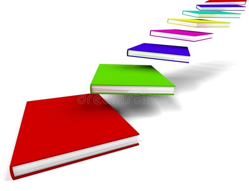 Bücher, die innen fliegen oder weg darstellende Ausbildung lizenzfreie abbildung