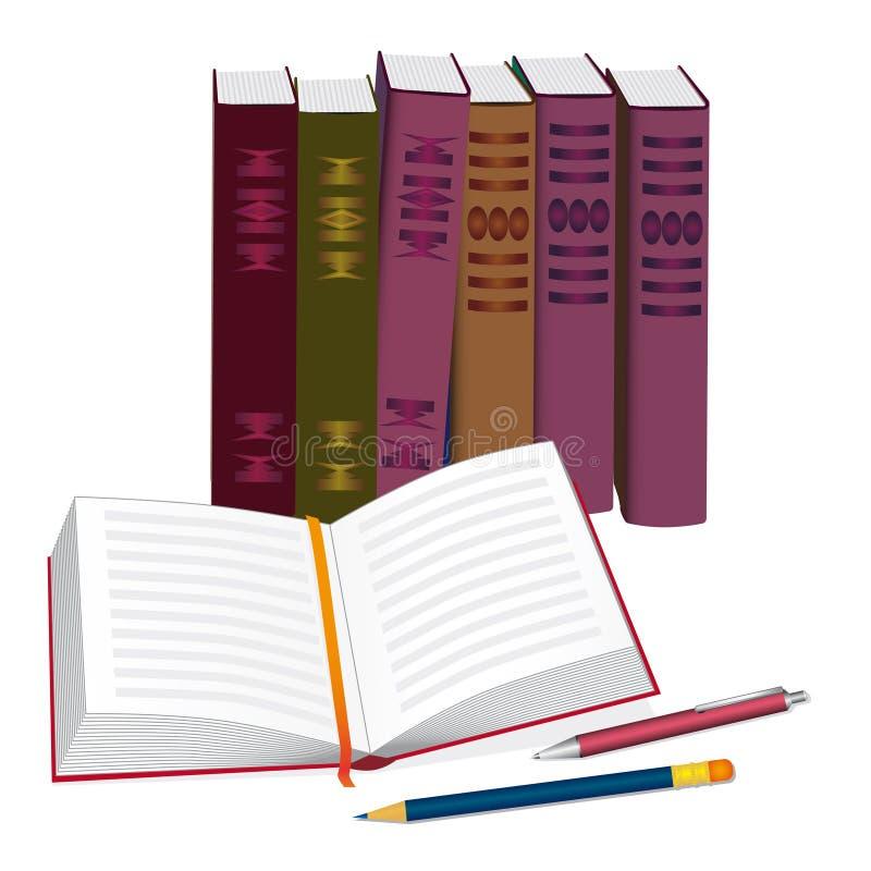 Bücher, Feder und Bleistift vektor abbildung