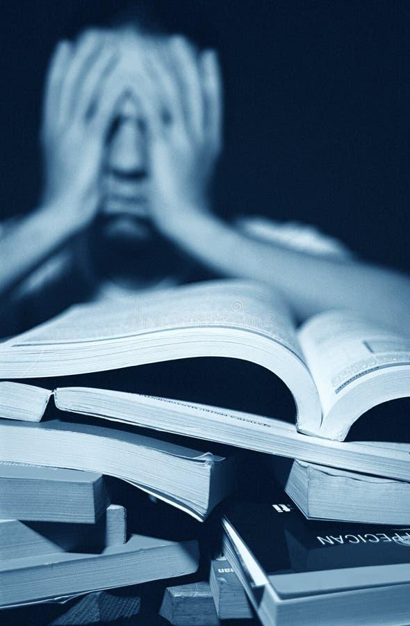 Bücher können Overshelming sein lizenzfreie stockfotos