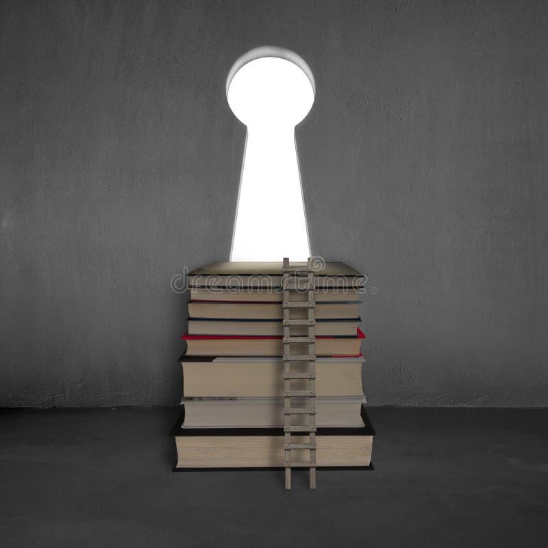 Bücher mit Schlüsselformtür auf Betonmauer und Leiter lizenzfreie stockfotografie