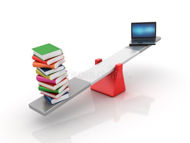 Bücher und Computer-Laptop, der auf einem ständigen Schwanken balanciert stock abbildung