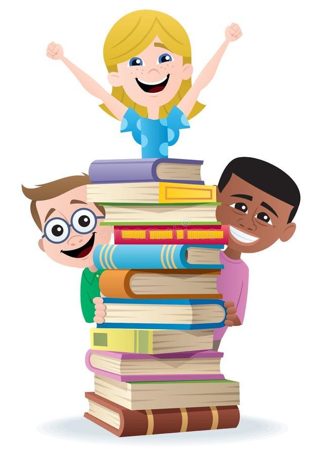 Bücher und Kinder lizenzfreie abbildung