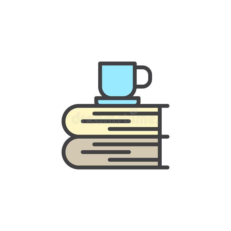 Bücher und Tasse Tee füllten Entwurfsikone stock abbildung