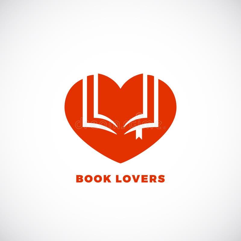 Bücherfreund-abstraktes Vektor-Zeichen, Emblem oder Logo Template Negatives Raum-offenes Buch in einem Herz-Schattenbild vektor abbildung