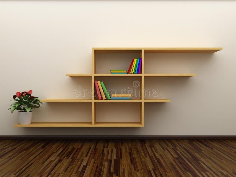 Bücherregal auf der Wand stock abbildung