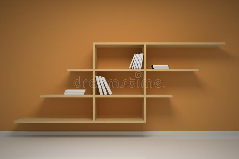 Bücherregal auf der Wand lizenzfreie abbildung