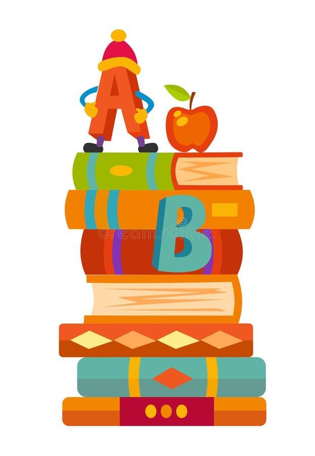 Bücherregale mit Büchern im Rauminnenraum Hauptbibliothek mit Literatur, Märchen schulen Lehrbuchbildungstrainings-Vektor illus vektor abbildung