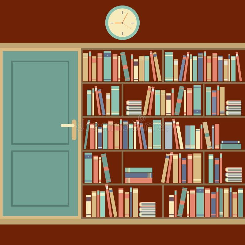 Bücherschrank im Lesesaal lizenzfreie abbildung