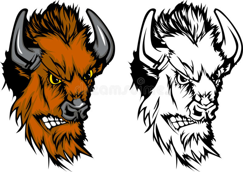 Büffel-Maskottchen-Zeichen vektor abbildung