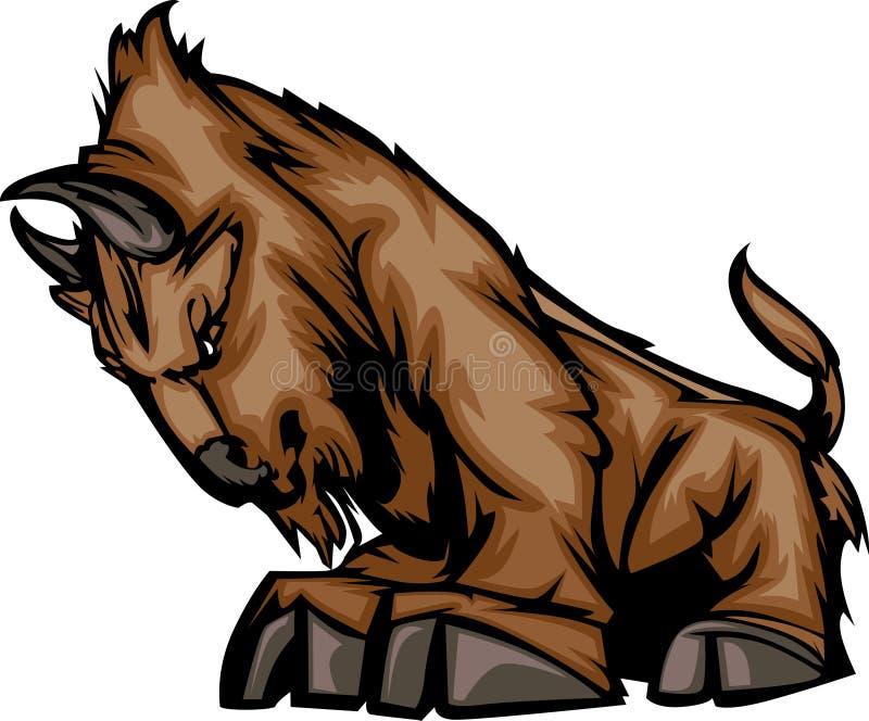 Büffel-Maskottchen-Zeichen stock abbildung