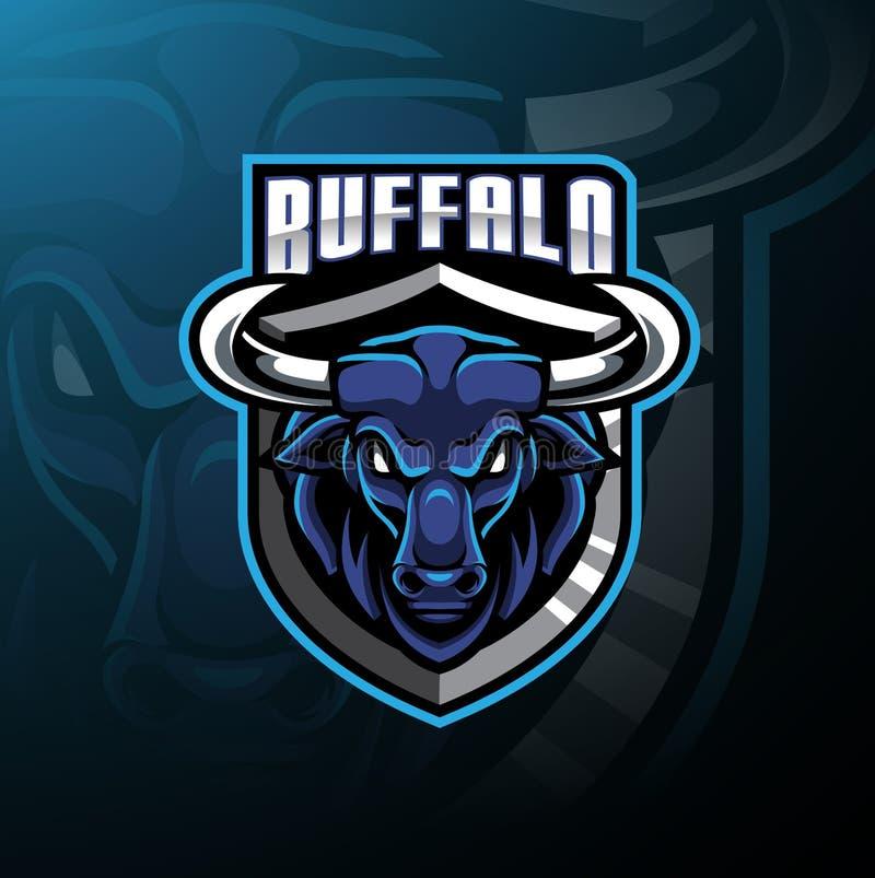 Büffelhauptmaskottchen-Logoentwurf lizenzfreie abbildung
