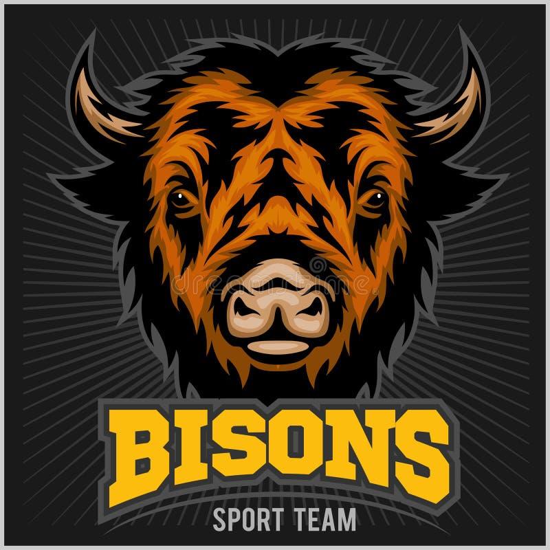 Büffelkopf mit Hörnern Logo für irgendeinen Sportteambison lizenzfreie abbildung