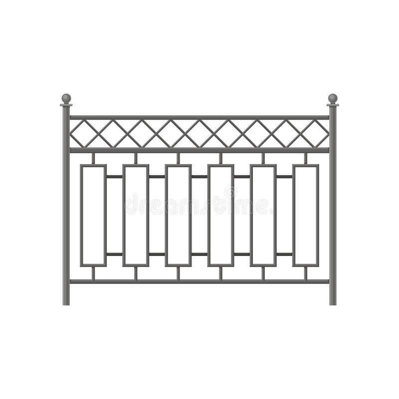 Bügeln Sie Zaun, schützende Sperre für Haus, Garten, Parkvektor Illustration auf einem weißen Hintergrund stock abbildung
