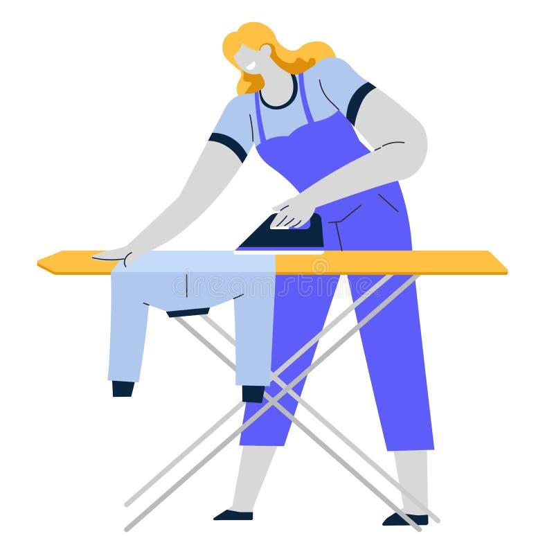 Bügelnde Kleidung der Frau, Eisen und Brett-, Hausarbeit- oder Reinigungsservice stock abbildung