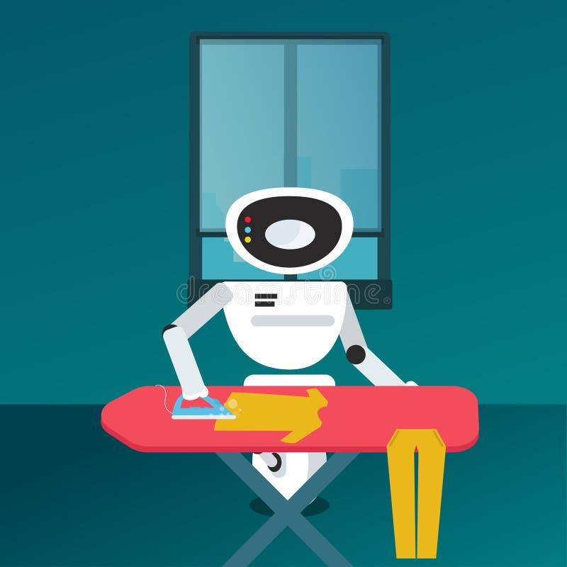 Bügelnde Kleidung des inländischen Roboters lizenzfreie abbildung
