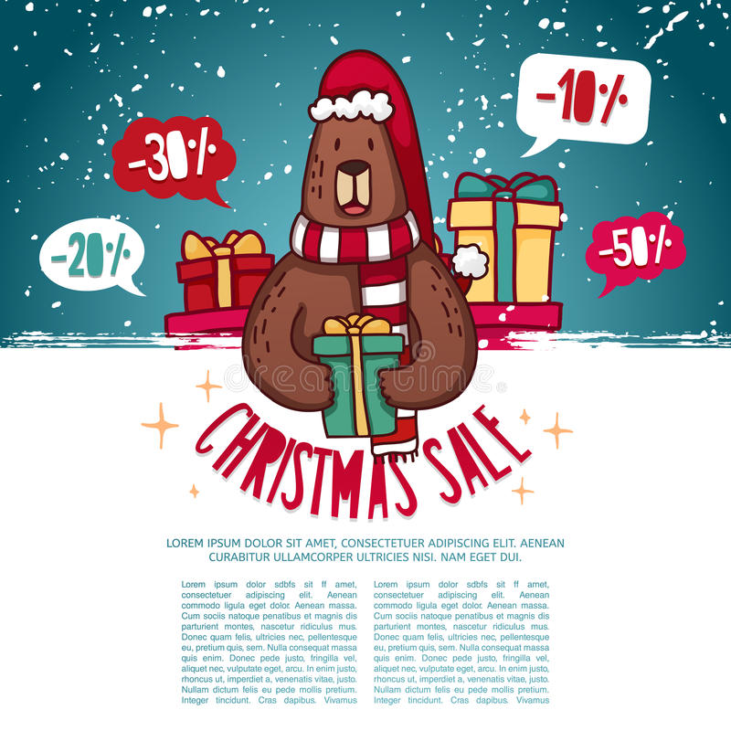 Bühnenbildschablone neues Jahr ` s Rabattfahne Weihnachtsplakat mit einem netten Bären vektor abbildung