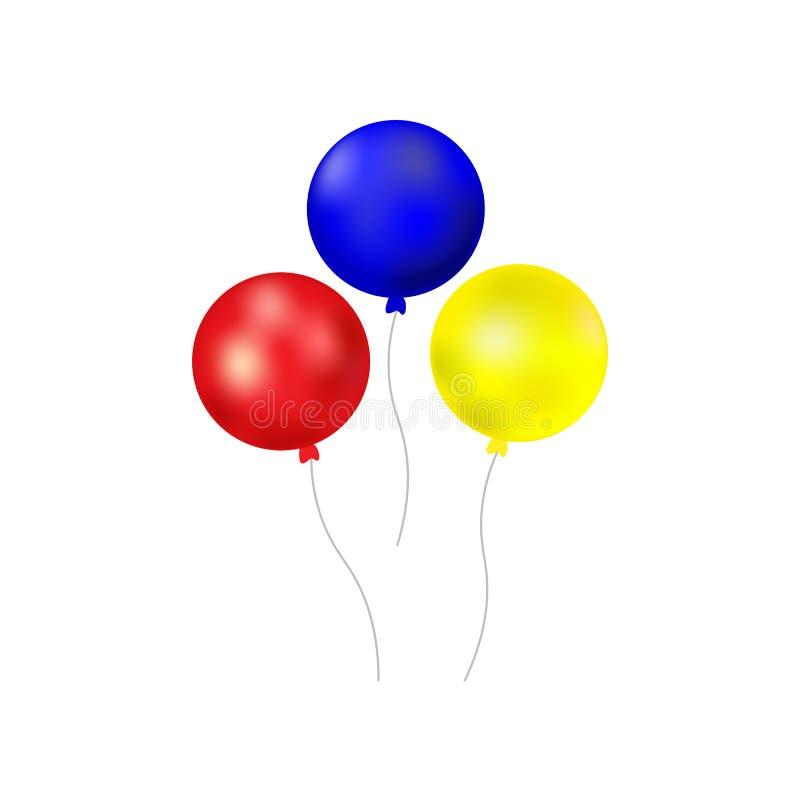 Bündel Ballone lokalisiert auf weißem Hintergrund Karikatur polar mit Herzen vektor abbildung