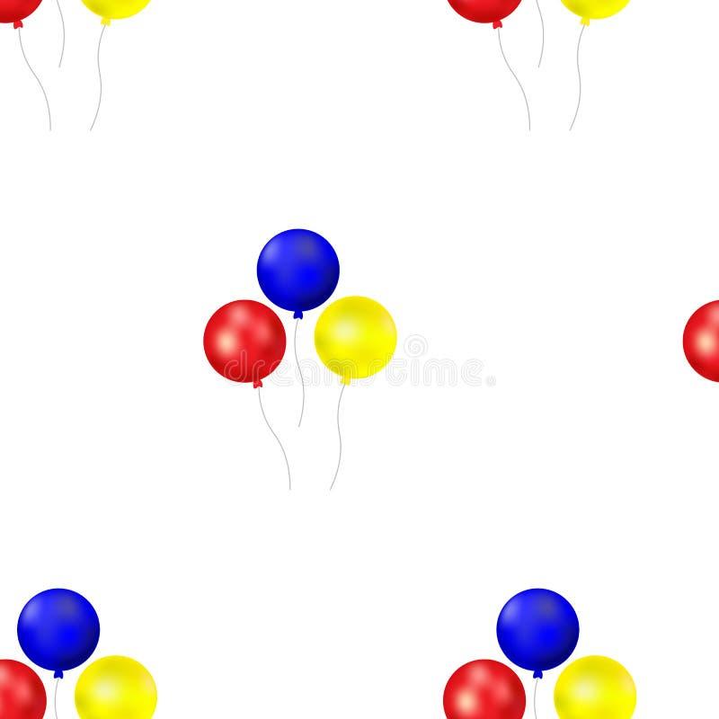 Bündel Ballone lokalisiert auf weißem Hintergrund Nahtloses Ballonmuster Auch im corel abgehobenen Betrag vektor abbildung