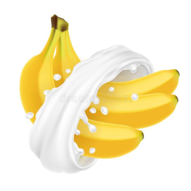B?ndel Bananen im Milchspritzen vektor abbildung