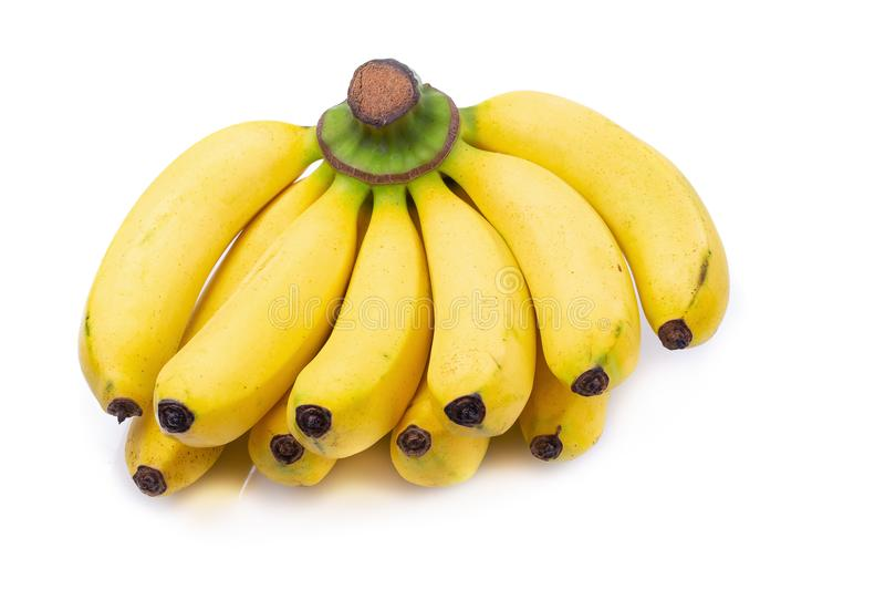 Bündel Bananen lokalisiert auf einem weißen Hintergrund stockfotos