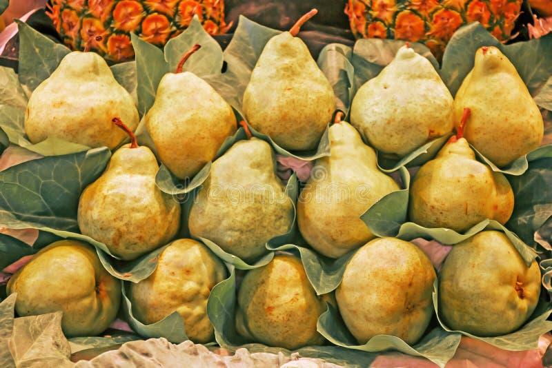 Bündel Birnen für Verkauf im Markt stockbilder