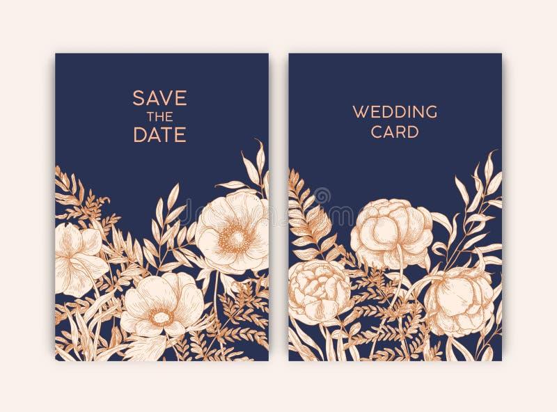 Bündel Blumenschablonen für Abwehr die Datumskarte oder die Hochzeitseinladung, die mit blühenden Gartenblumen verziert wird, übe lizenzfreie abbildung