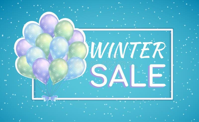 Bündel bunte Ballone mit Schneeflocken Winterschlussverkaufplakat für Saisonrabatt lizenzfreie abbildung
