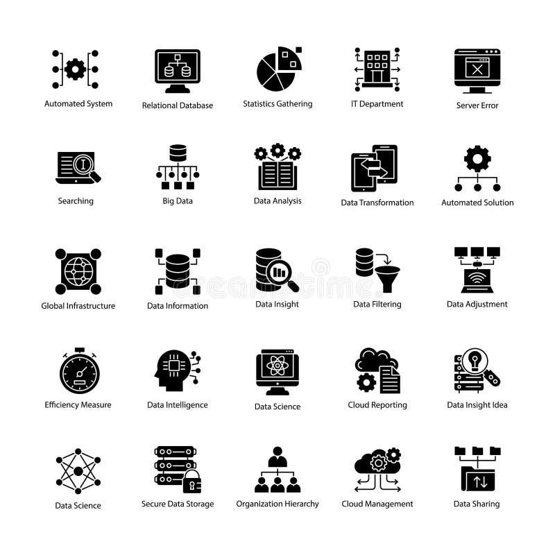 Bündel Daten-Wissenschaft Glyph Vektor-Ikonen lizenzfreie abbildung