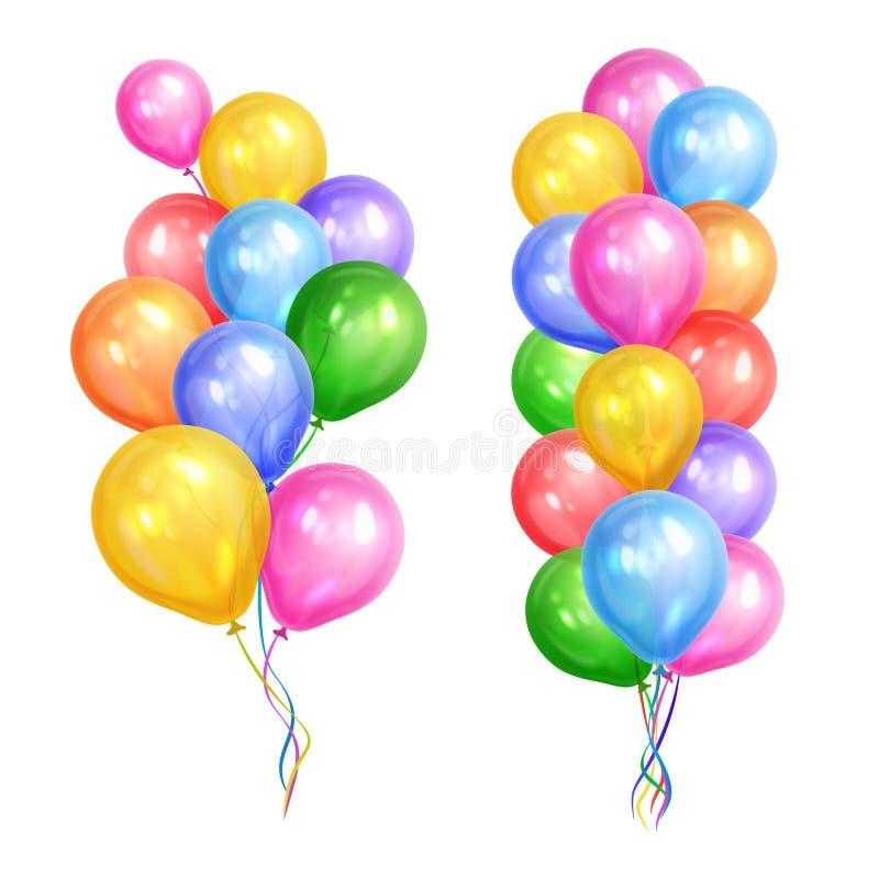 Bündel der bunten Heliumballone lokalisiert auf weißem Hintergrund lizenzfreie abbildung