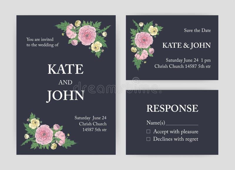 Bündel der schönen Hochzeitseinladung, speichern die Datums- und Wartekartenschablonen, die mit Rosa und Gelb verziert werden stock abbildung