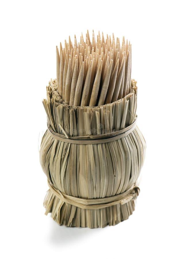Bündel des hölzernen Toothpick mit Halterungen stockbilder