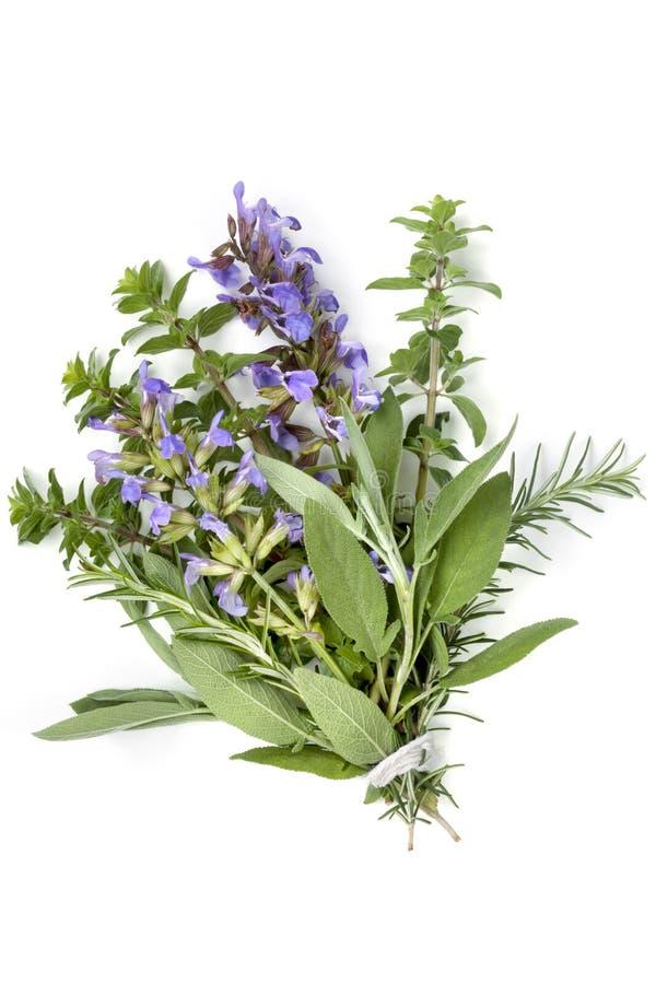 Bündel des Kraut-Blumenstraußes Garni lokalisiert auf Weiß stockfotografie