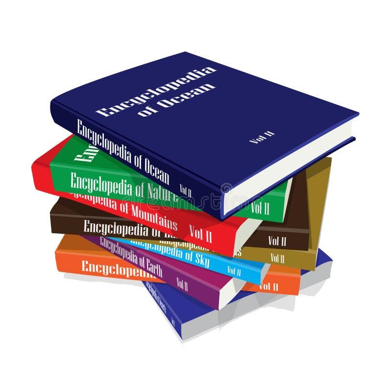 Bündel Enzyklopädien-Bücher lizenzfreie abbildung