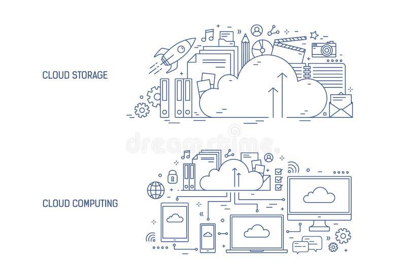 Bündel horizontale Fahnenschablonen mit elektronischen Geräten schloss an on-line-Datenspeicherung und Büroartikel an stock abbildung