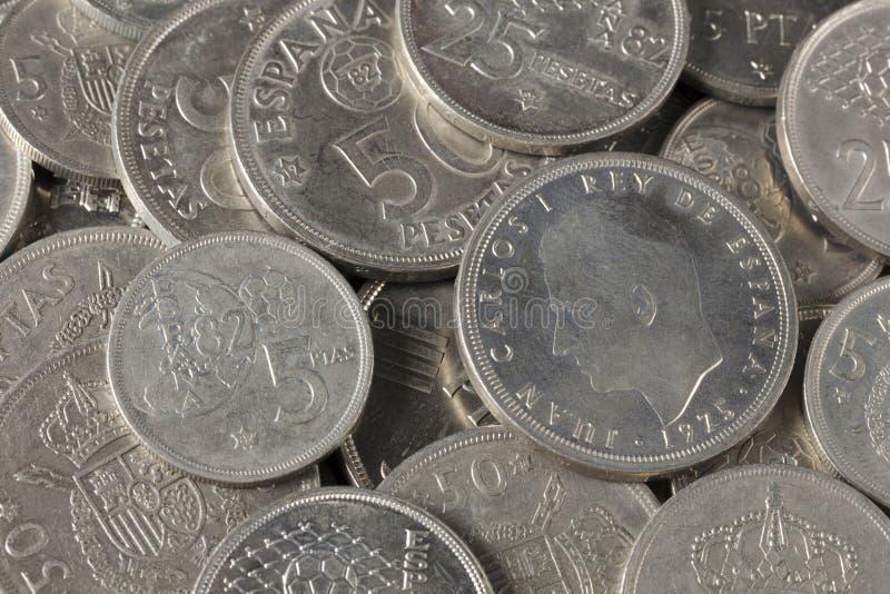 Bündel Pesetamünzen von Spanien lizenzfreies stockbild
