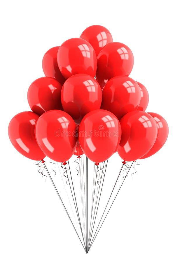 Bündel rote Ballone stock abbildung