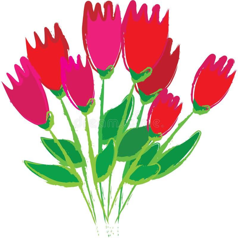 Bündel Tulpen im Van- Goghzauntritt lizenzfreies stockfoto