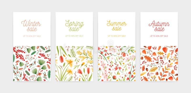 Bündel vertikale der Fahne, des Promobelegs oder des Kupons Schablonen mit Saisonblumen und Anlagen und Platz für Text Frühling lizenzfreie abbildung