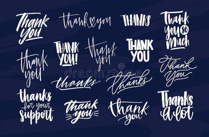 Bündel von modernem danken Ihnen Aufschriften, oder Dankbarkeit drückt geschrieben mit verschiedenen dekorativen kalligraphischen stock abbildung