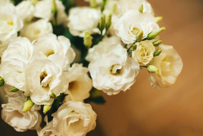 Bündel weiße Eustomablumen stockbild