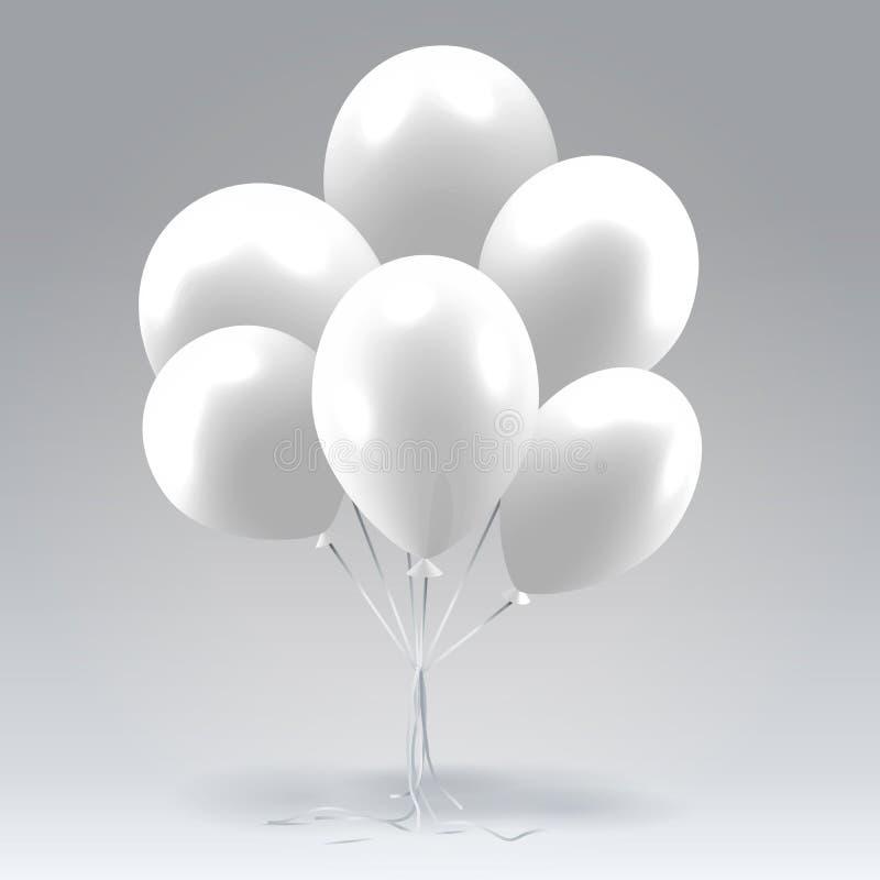 Bündel weiße glatte aufblasbare Ballone stock abbildung