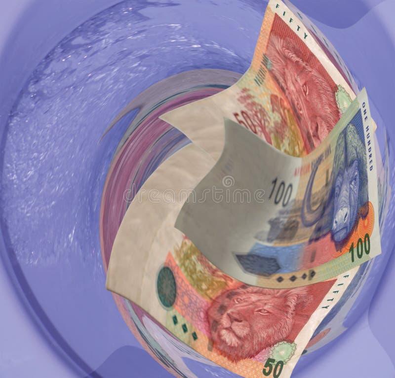 Bündiges Geld hinunter den Toilettenablaß lizenzfreie stockfotos