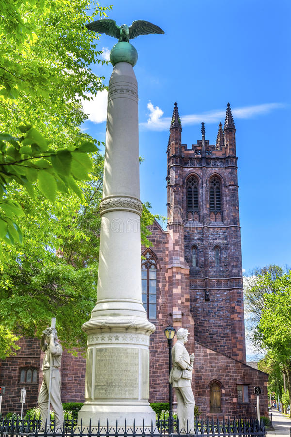 Bürgerkrieg-Monument-Christus-Kirche New-Haven Connecticut Broadways lizenzfreies stockfoto