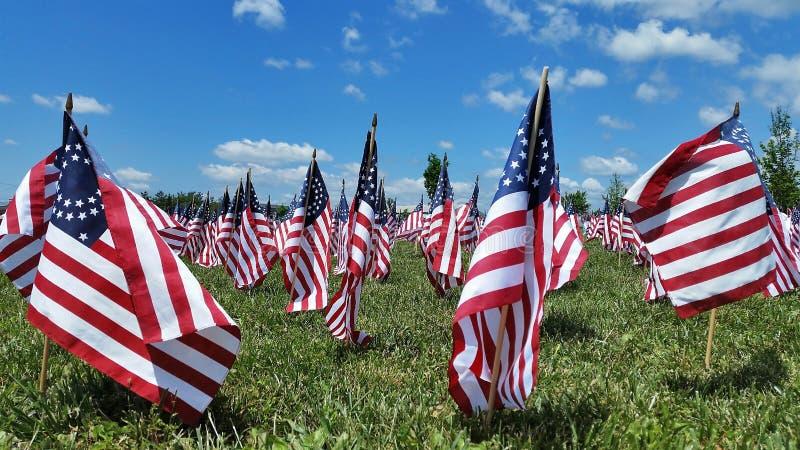 Bürgerkrieg-Schlachtfeld voll von amerikanischen Union Jack stockfotos