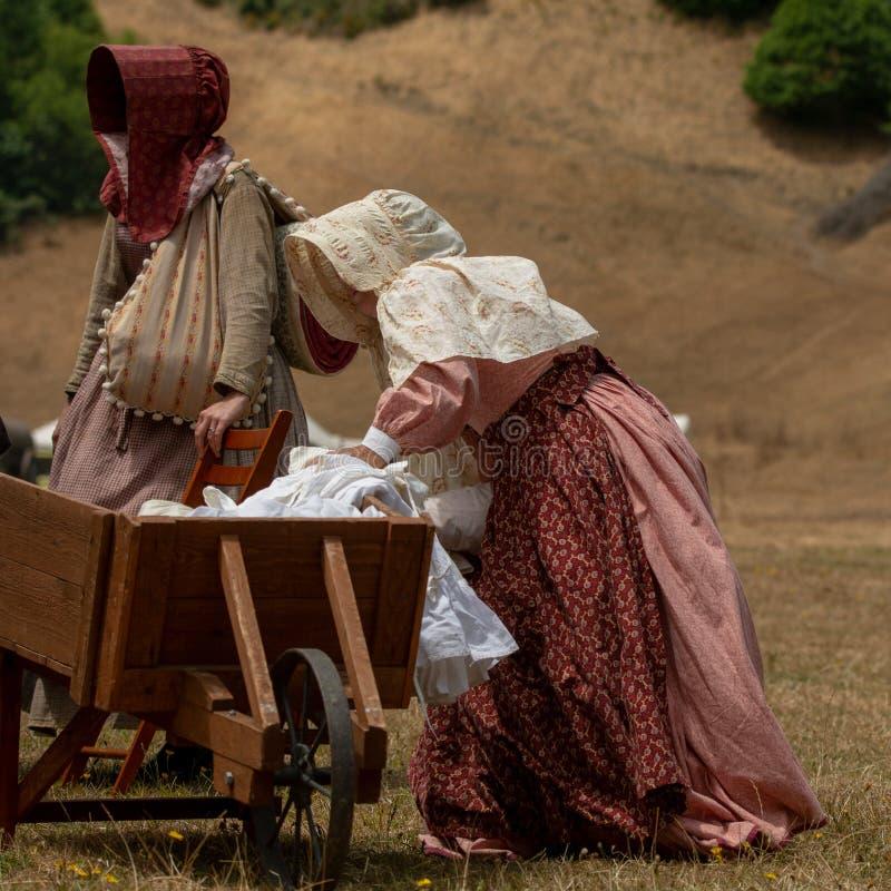 Bürgerkrieg wieder--enactement in Duncans-Mühlen, CA, USA lizenzfreie stockbilder