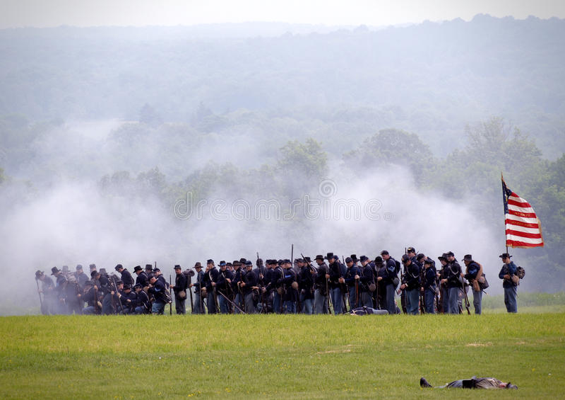 Bürgerkriegwiederinkraftsetzung stockbild